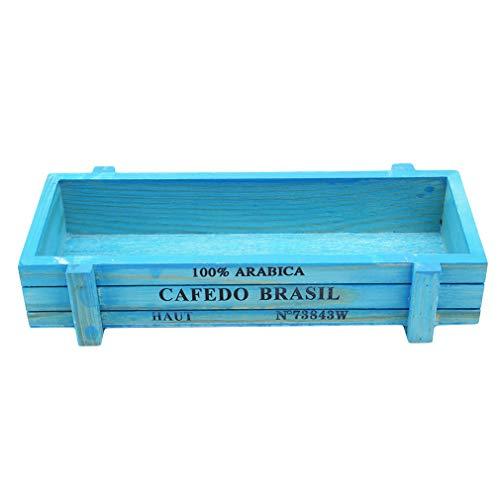 Pinhan - Maceta rectangular de madera para jardín, maceta de ventana, maceta con flores suculentas, color azul