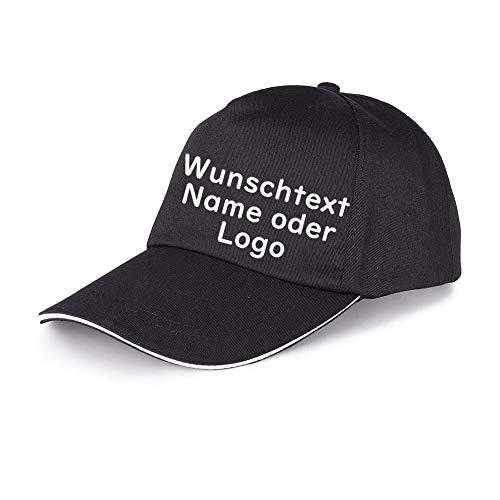 LAOKEAI Personalisierte Baseball Cap Erwachsene Druck vorne mit Text/Name oder Logo mit UV-Schutz(Schwarz)