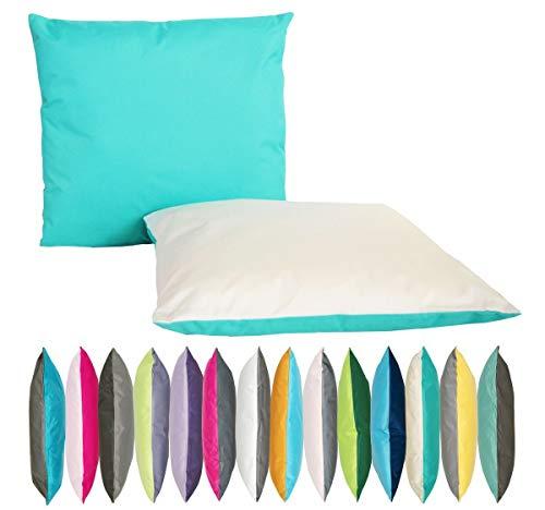JACK 2-farbiges Wende Outdoor Lounge Kissen 45x45cm Dekokissen Wasserfest Sitzkissen Garten Stuhl Lotus Effekt, Farbe:Aqua - Elfenbein