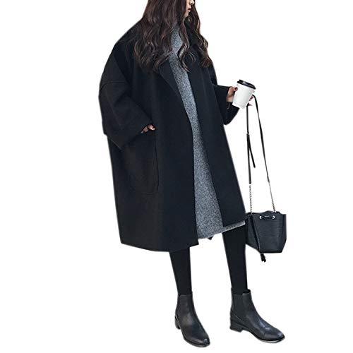 WSLCN Damen Oversize Wollmantel Herbst Jacke Winter Mantel Casual Einfarbig Mittellang Schwarz DE M(Asie XL)