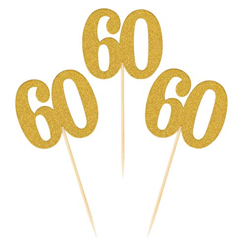 Donoter 50pcs 60th Cupcake Toppers Gold Glitter Number 60 Cake Picks for Birthday Anniversary Party Decoration