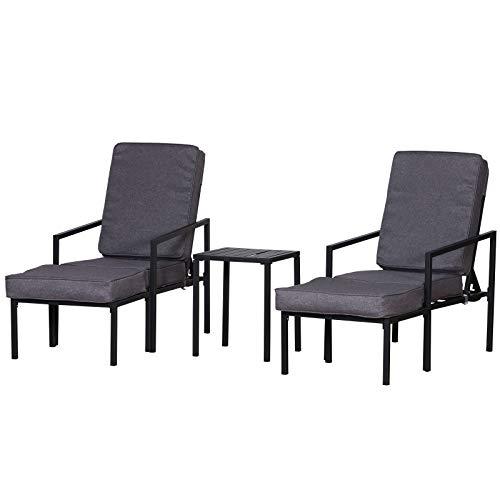 Outsunny Sitzgruppe mit Kissen, 5-TLG. Gartenmöbel für 2 Personen, Sofa mit Verstellbarer Rückenlehne, Beistelltisch Fußhocker, Metall, Grau, 55 x 65 x 82/77/70/60/50 cm