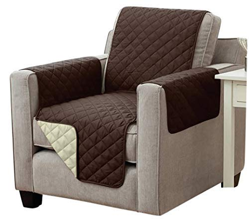 Sesselschoner Sofaschoner Sesselschutz Sofaüberwurf (1-Sitzer 191 x 165 cm, braun/beige)