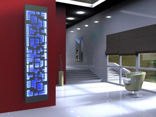 Badheizkörper Design Downtown 3 + LED, HxB: 180 x 47 cm, 1118 Watt, Edelstahl/weiß mit LED-Beleuchtung, Mittelanschluß (Marke: Szagato) Made in Germany/Bad und Wohnraum-Heizkörper