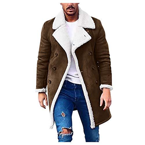 Men's Outdoors Active Long Sherpa Fleece Jackets Casual Winter Warm Fur Collar Trench Coats Windbreaker Jacket