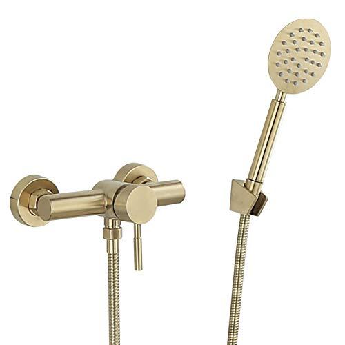 Juego de grifos de ducha de baño grifo de ducha dorado cepillado montado en la pared, grifo de ducha y bañera fría y caliente de baño y cobre