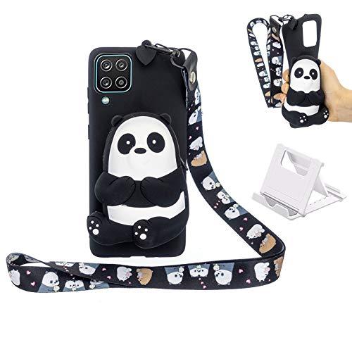 Yewos Kompatibel mit Samsung Galaxy A42 5G Hülle,Schwarz Silicone 3D Motiv Bär Tiere Handyhülle Weich TPU Ultra Slim Gummi Tasche mit Schlüsselband,Kawaii Cool Mode Gel Schale