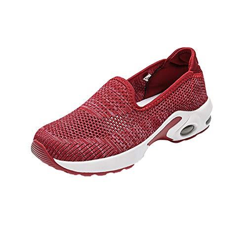 DAIFINEY Damen Modischer Freizeitschuh Sneaker Mesh Leichte Modische Turnschuhe Freizeit Atmungsaktiv(1-Rot/Red,40)