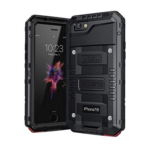seacosmo iPhone SE 2020 Hülle, iPhone 7 Wasserdicht Hülle, Militärstandard Schutzhülle mit Eingebautem Displayschutz Stoßfest Metall Handyhülle für iPhone 8, Schwarz