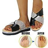 JUZIZHI Mujer PU Cuero Scorrectoras de Hueso Grande del Dedo del pie Zapatos cómodos Sandalias de Moda,Más Adecuado para Mujeres con Bursitis,White,39