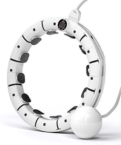 hwbq Smart Hula Hoop Fixed No Caída Inteligente Ejercicio Aro Contador de Neumáticos Exhibición para Fitness Tamaño Ajustable (Color: Blanco: 14 Nudos)-16 Nudos_Blanco
