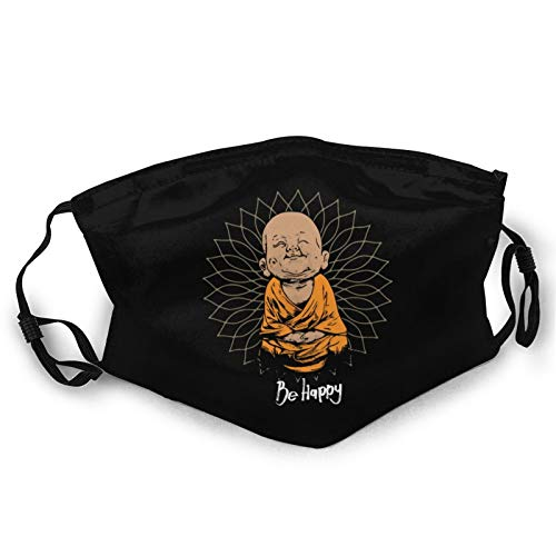 Be Happy Little Buddha Mask Scarf, Turban Unisex Anti-dust Face Mouth Dust Mask for Camping Travel Black
