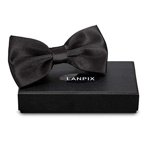 LANPIX Noeud papillon réglable pré attachés nœuds papillons avec boîte pour hommes enfants garçon (noir)