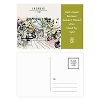 中国のリーチヤンで平和的なパビリオン 詩のポストカードセットサンクスカード郵送側20個