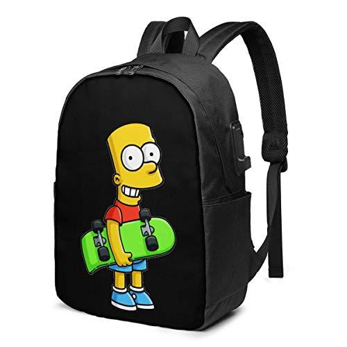 zhengdong Mochila de viaje Bart Simpson de 17 pulgadas, para exteriores, para hombres y mujeres, con puerto de carga USB, College Backp