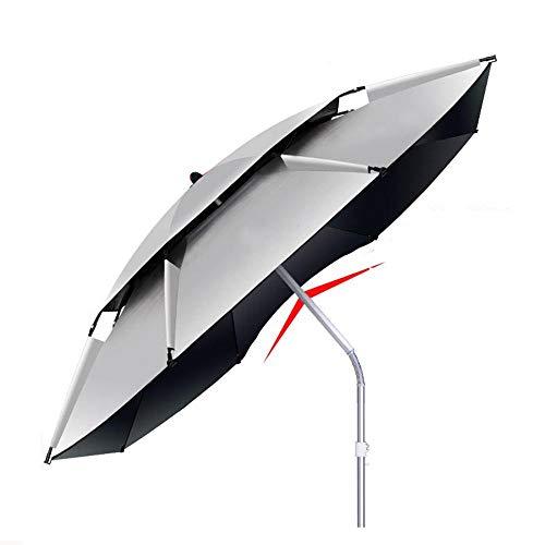 T-XYD Fischen-Regenschirm, 2 M-2.4 M verdickter doppelter Gummischnallen-Fischen-Sonnenschirm, im Freienfischen-Regenschirm, faltender Neigungs-Sonnenschutz-regensicherer UVschutz,L*2.4m