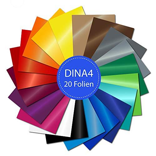PrintAttack P050 | Plotter Folien 20 Stück DINA4 Oracal 751 C High Performance Perfekt zum Plotten | Bastelfolie | Vinyl Folie | Klebefolien | Selbstklebend je 21 cm x 29,7 cm (21,60 €/m²)