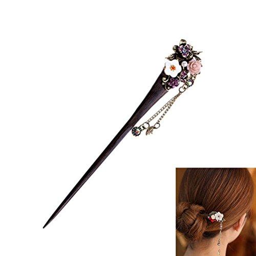 Frcolor Hölzerne Pin chinesische Haare klebt mit Quaste Retro für Frauen-Haar-Styling lila (Zufälliger Stil)