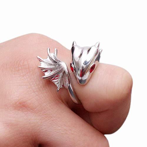 Fansi 1 pieza nuevo estilo punk personalidad dragón anillo joyería aleación dragón anillo mango tamaño: ajustable, Aleación, Rojo, 2.5*2.8CM
