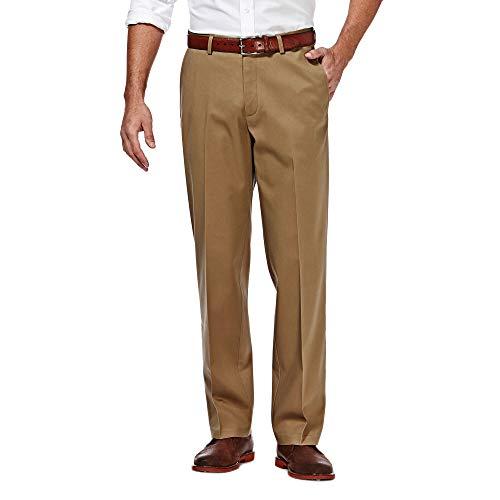 Haggar Men's Classic Fit Flat-Front Hidden Expandable Waistband Premium No Iron Khaki, 36W x 32L - British Khaki