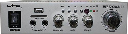 LTC MFA1200USB-BT-SI - Amplificador para karaoke (estéreo, 2 x 50 W), color plata y negro