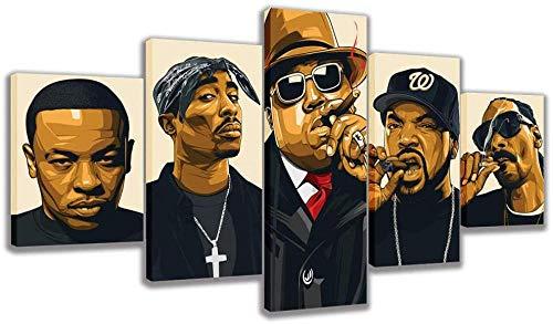 FANFF Hip-hop Legend Collage Rapper Canvas Posters - 5 Piece Poster - Wall Art Print - Image Printed...