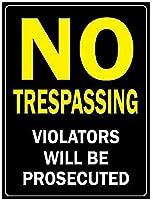 2個 不法侵入者は起訴されません錫看板金属板装飾看板家の装飾プラーク看板地下鉄金属板8x12インチ メタルプレート レトロ アメリカン ブリキ 看板