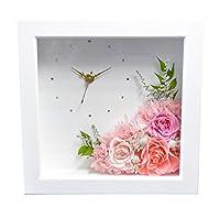 フラワー時計 枯れないお花 プリザーブドフラワー ピンク バラ 結婚祝い 結婚記念日 新築祝 引越祝 開店祝 開院祝 誕生日プレゼント
