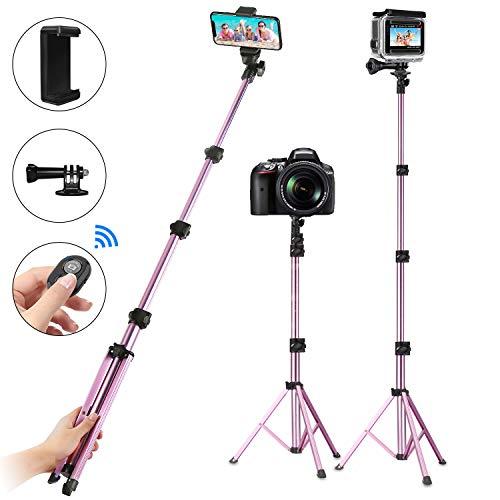 PEYOU Palo Selfie Trípode, Compatible para Movil y Gopro Cámara, 135cm Largo Palo Selfie Movil con Bluetooth Control Remoto y Adaptadore para Gopro/Movil, para iPhone X/8/8P, para Galaxy Note y más
