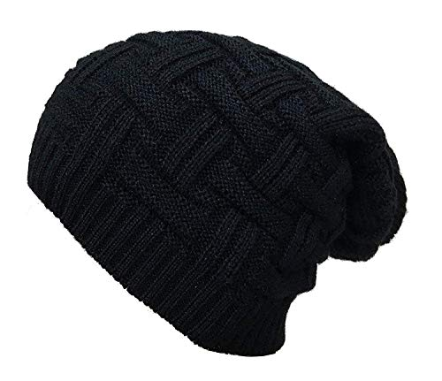 CRUMPLED Beanie Cap for Men Women Skull Slouchy Winter Woolen Knitted Black Inside Fur Mens Caps, Freesize (J.Black)
