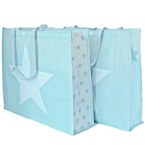 Bada Bing 2er Set Einkaufstasche hellblau mit trendigem Sterndesign Shopper Tragetasche Stern (hellblau)