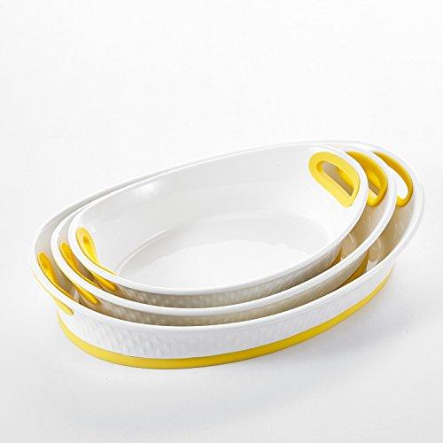 "Malacasa, Series Bake, 3pcs Porcelain Bakeware Pans, 12"" & 13.5"" & 15.5"" (47.5oz & 65oz & 92oz) Ivory White Serving Dishes Baking Plates Set, Yellow"