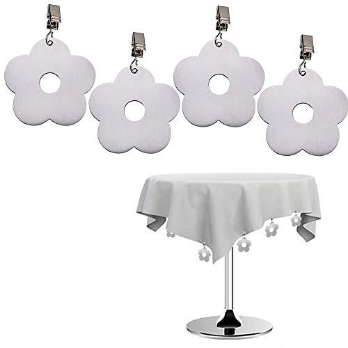 Xkfgcm 4er-Set Flower Tischdeckenbeschwerer Tischtuchhalter Edelstahl Tischtuchklammer Clip Tischdeckengewichte mit Stahlclips Tischdecke Gewichte Tischtuchklammern für Dicke Tischplatten