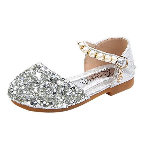 Zapatos Niña Princesa - Talla 21-36 - Perla de Lentejuelas Zapatos Tacon de Fiesta - Sandalias de Vestir