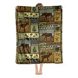 Lodge Bear Moose Deer Fleece Blanket Foldrable Throw Blanket Washable Couch Sofa Fuzzy Blanket Reversible Plush Blanket Beach Blanket for Home Office