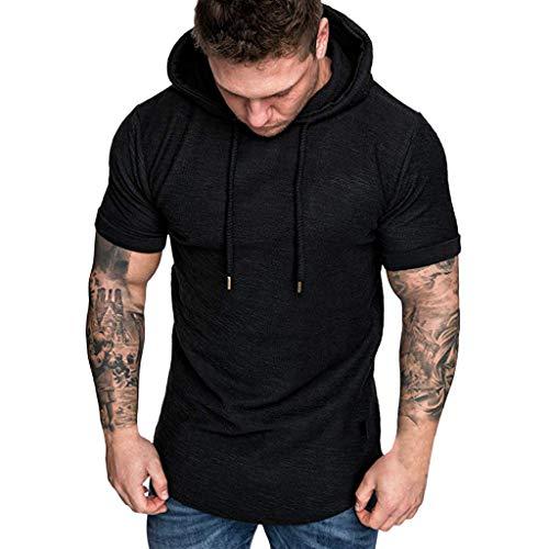 Aiserkly Mode Herren Slim Fit Lässige Beliebte Große Größe Kurzarm Hoodie Top Bluse