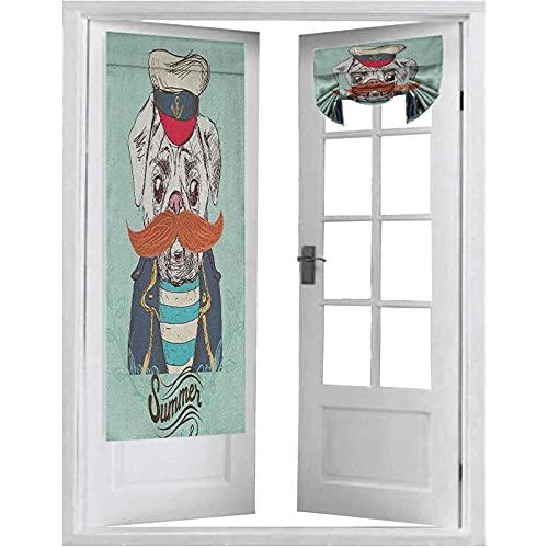 Cortinas de panel de puerta francesa, capitán perro con sombrero chaqueta bigote y camisa, linda imagen animal, 2 paneles-66 x 172 cm, cortina para puerta delantera, azul marino, azul pálido, naranja