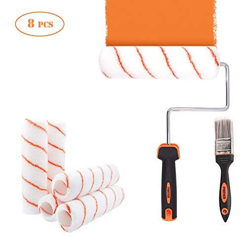 AimdonR Paint Roller -11 Pièces Kit de peinture Rouleau à peinture, 10 Revêtements pour rouleaux, Nouveau set de peinture