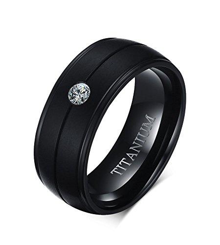 Vnox Titanio Puro Uomo 8mm Cubic Zirconia Nozze Comfort Fit Fidanzamento Anello della Fascia Nera,Dimensione 22