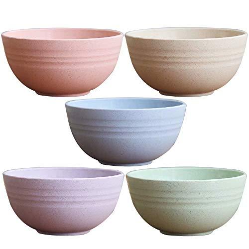 JILIGUALA - Cuenco de plástico para sopa con pajita de trigo saludable, tazón para sopa con cucharas irrompibles para niños, para microondas (4 cuencos, 4 cucharas) Color 5