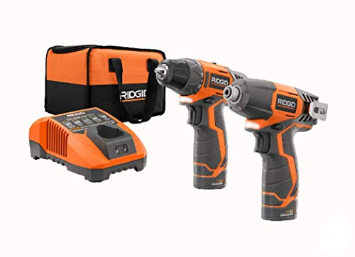 RIDGID R9000 12V Lithium-Ion 2 Tool Cordless Drill/Driver and Impact Kit...