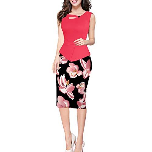 Kingko ® 50s Vintage Retro Rockabilly Kleid Bleistiftkleid Pencil Kleid Etuikleid V-Ausschnitt Kurzarm Vintage Cocktailkleider (XXXXXL, Pink)
