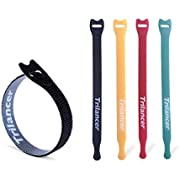 Reusable Cable Ties, Trilancer Cord Wraps, Adjustable Strap Fastener, Cable Organizer, Fastening Hook and Loop, 8 Inches, 4 Colors, 50 PCS