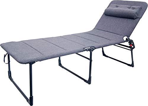 Crespo Elegante tumbona de aluminio de tres patas, tumbona de jardín, playa, silla de camping