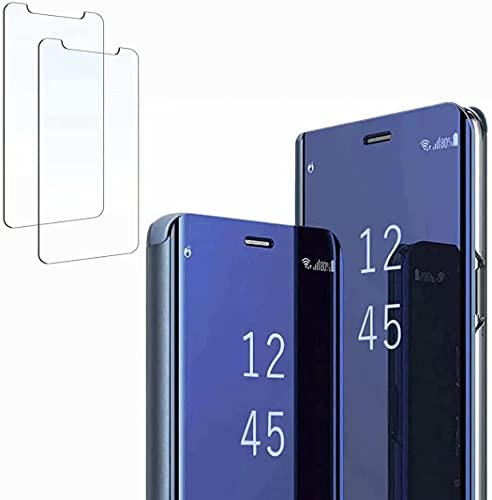 Ttianfa Funda para Samsung Note 5 Edge Funda Espejo Flip Tipo Libro,Hora Ver Inteligente Fecha Soporte Plegabl Protector Pantalla PU Caso Duro 360 a Prueba de choques Funda conNote 5 Edge,Azul