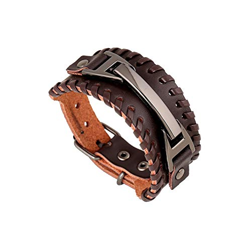 CNSP VIVIZEY Punk Rock Men Weave Genuine Leather Bracelets Man Braided Wrap Bracelets & Bangles Biker Jewelry Wrap Bracelet Men Pulseira A