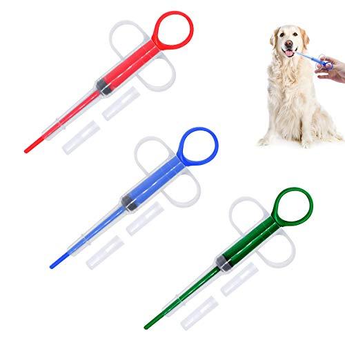 BoloShine 3 pcs Jeringa para Pastillas de Mascotas, Dispensador de Alimentación de Medicina para Mascotas Alimentador de Píldoras Pastillero para Perros y Gatos con Jeringa de Punta Suave