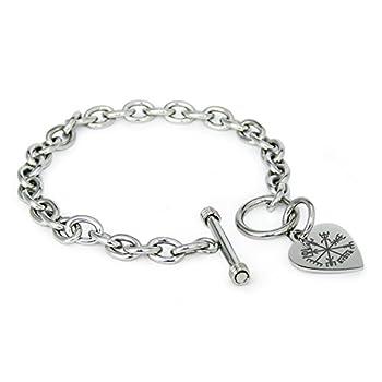 Stainless Steel Vegvisir Viking Compass Symbols Heart Charm Bracelet Only