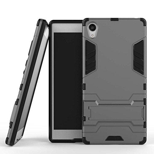 Coque pour Sony Xperia Z5 Premium (5,5 Pouces) 2 en 1 Double Couches Étui Antichocs Protection Rigide Anti Choc avec Fonction Support (Gris)