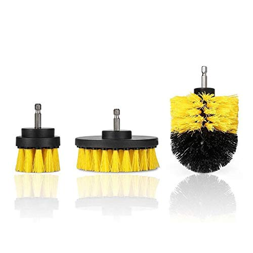 QiKun-Home Multi-Function Electric Drill Brush Set Floor Carpet Brush Glass Cleaning Polishing Brush Bathroom Cleaning Kit yellow bl100